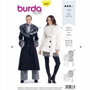 6387 Burda Pattern: Misses' Coats with Faux Fur Collar